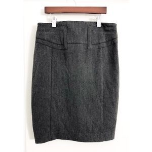 Express Gray Pencil Skirt With Buckle Detail 4